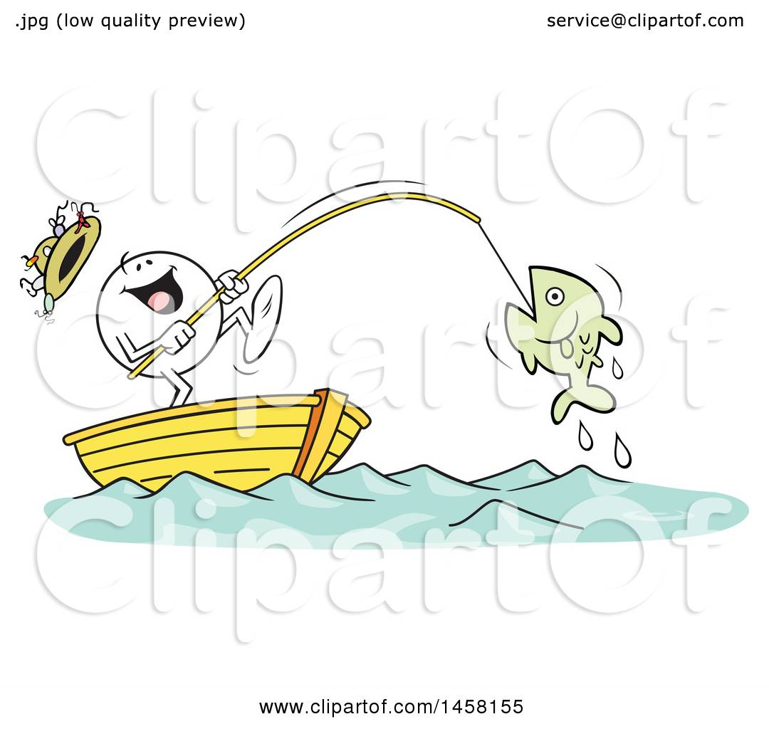 Clipart Of A Cartoon Happy Moodie Character Catching A Big Fish