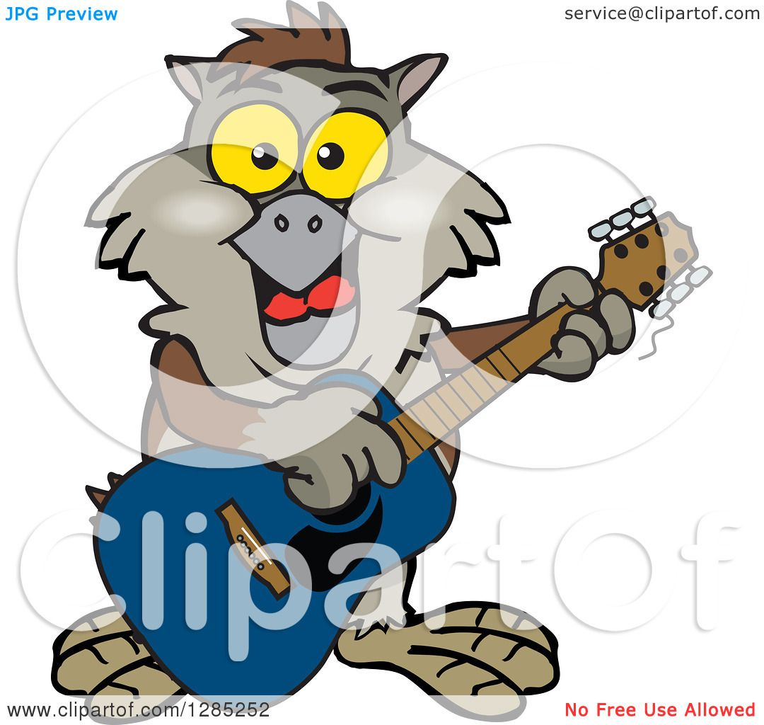 clipart of a cartoon happy owl playing an acoustic guitar royalty rh clipartof com Cleaning Clip Art Watching TV Clip Art