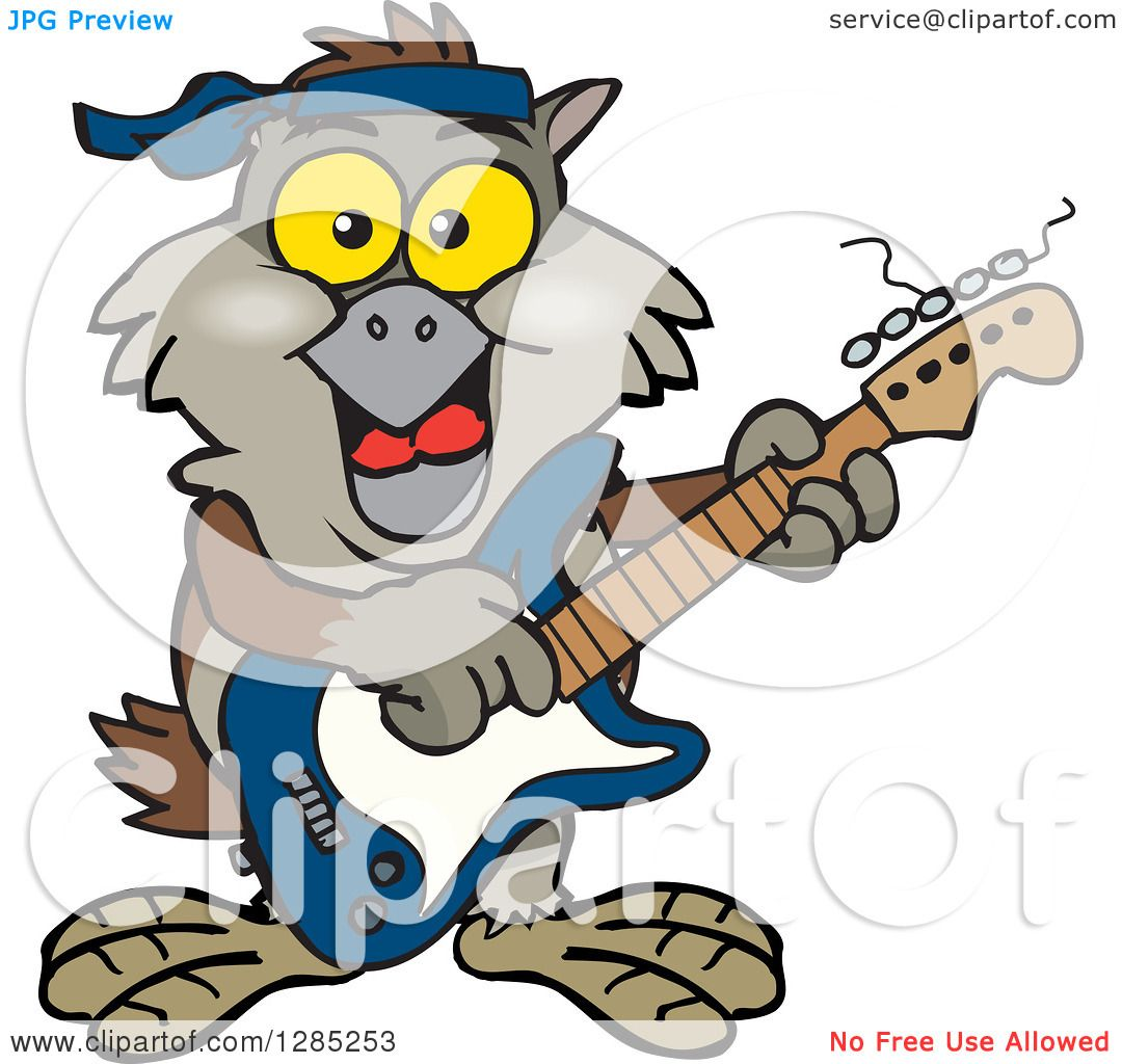 clipart of a cartoon happy owl playing an electric guitar royalty rh clipartof com Writing Clip Art House Clip Art