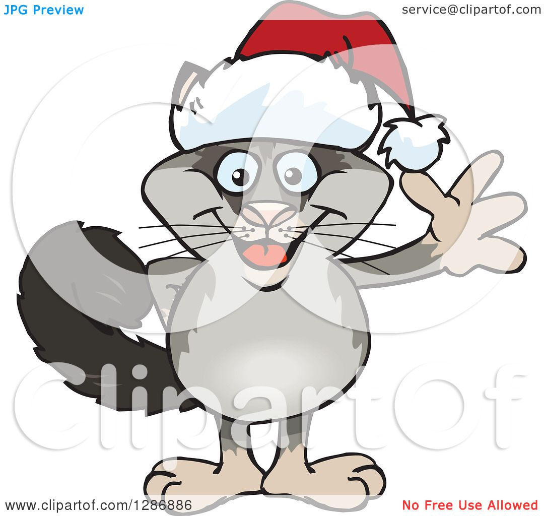 Clipart of a Cartoon Happy Possum Wearing a Christmas Sant Hat and ...