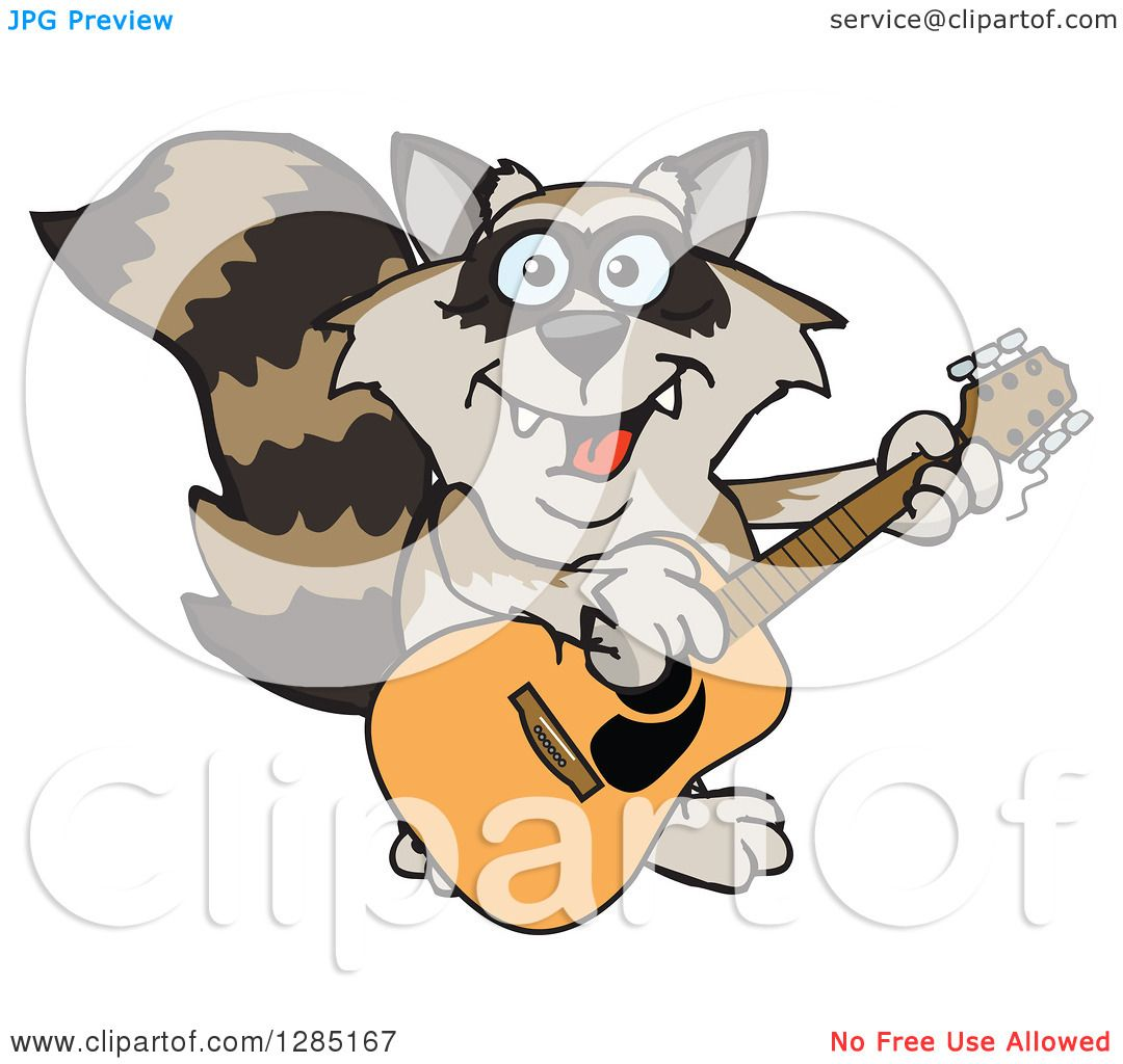 Clipart of a Cartoon Happy Raccoon