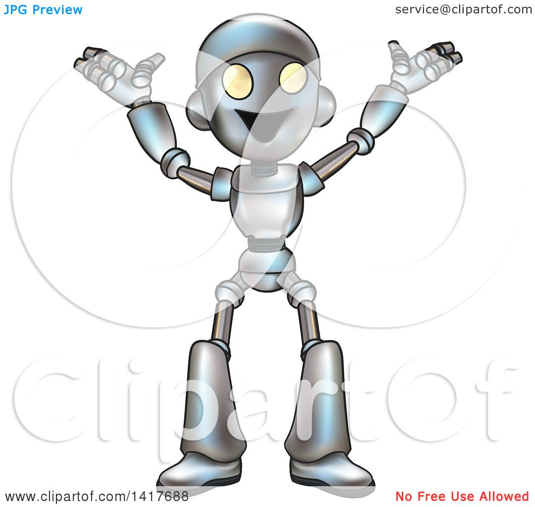 Clipart of a Cartoon Happy Robot Cheering - Royalty Free ...