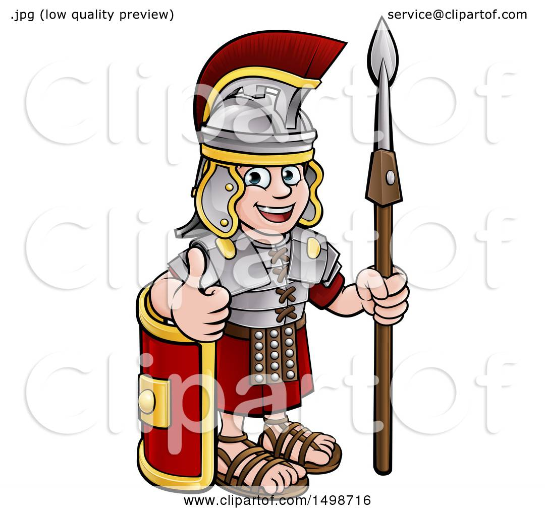 clipart of a cartoon happy roman soldier giving a thumb up holding rh clipartof com roman soldier clipart black and white ancient roman soldier clipart