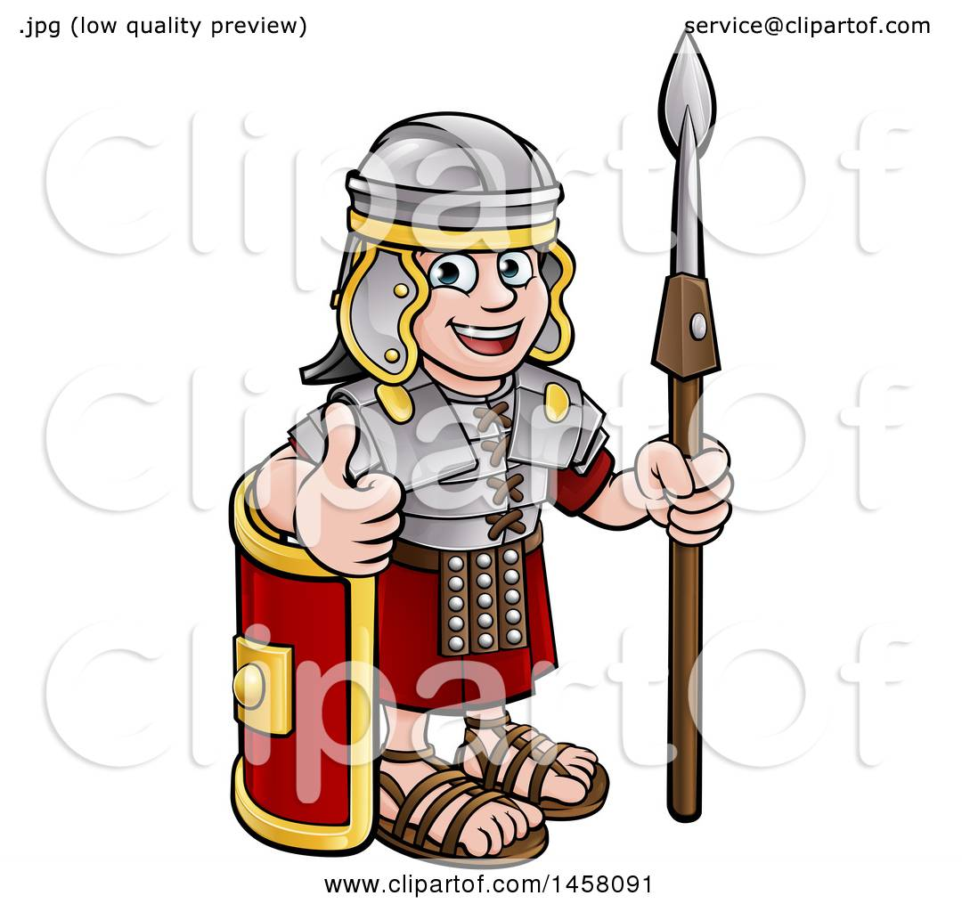 clipart of a cartoon happy roman soldier holding a spear leaning on rh clipartof com Rome Clip Art roman soldier clipart images