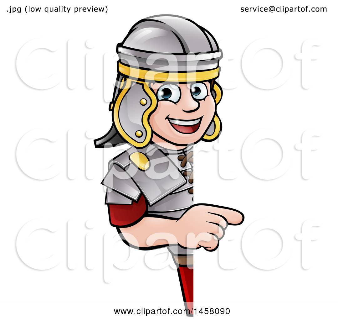 clipart of a cartoon happy roman soldier pointing around a sign rh clipartof com cartoon roman soldier clipart roman soldier armor clipart