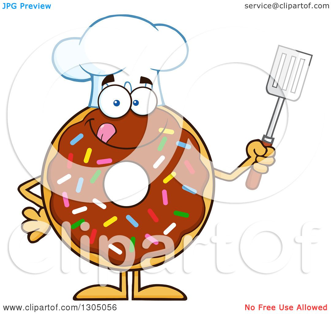 Clipart of a Cartoon Happy Round Chocolate Sprinkled Donut ...