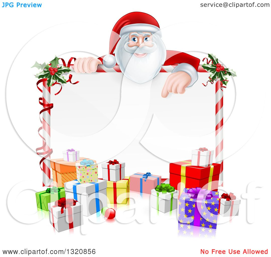 Clipart of a cartoon happy santa claus pointing down over a blank clipart of a cartoon happy santa claus pointing down over a blank candy cane framed sign with christmas gifts and holly royalty free vector illustration jeuxipadfo Choice Image