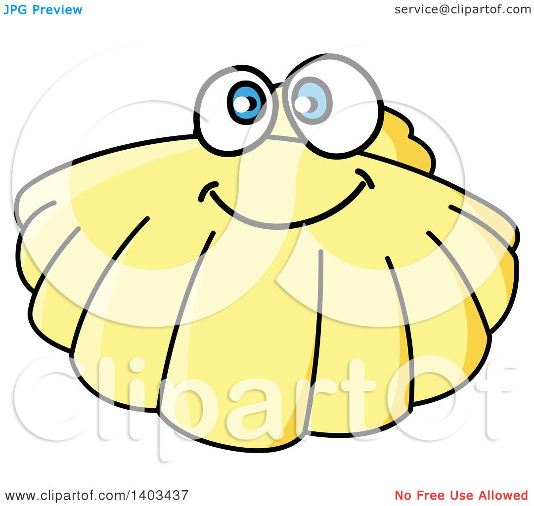 Clipart of a Cartoon Happy Scallop - Royalty Free Vector ...