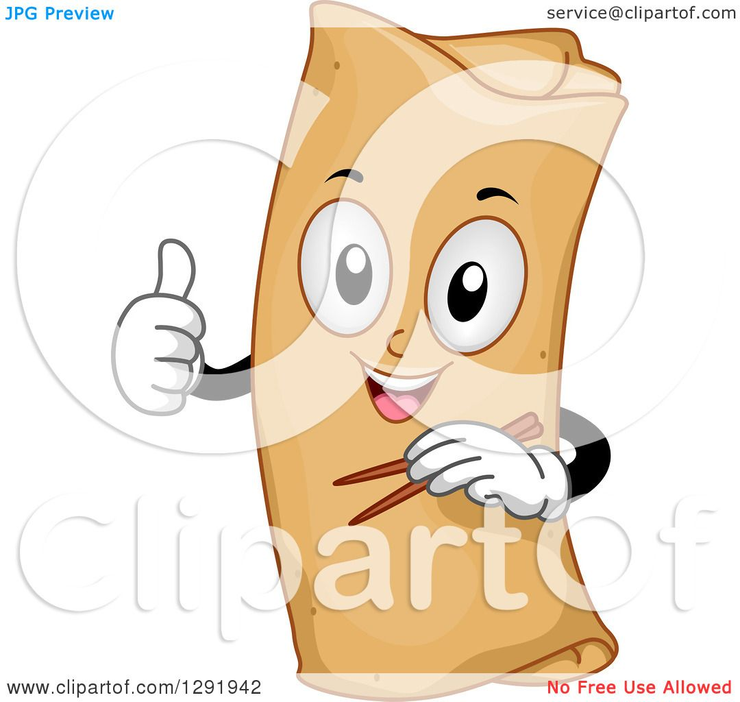 clipart of a cartoon happy spring roll character holding chopsticks and a thumb up royalty free vector illustration by bnp design studio 1291942 clipart of a cartoon happy spring roll