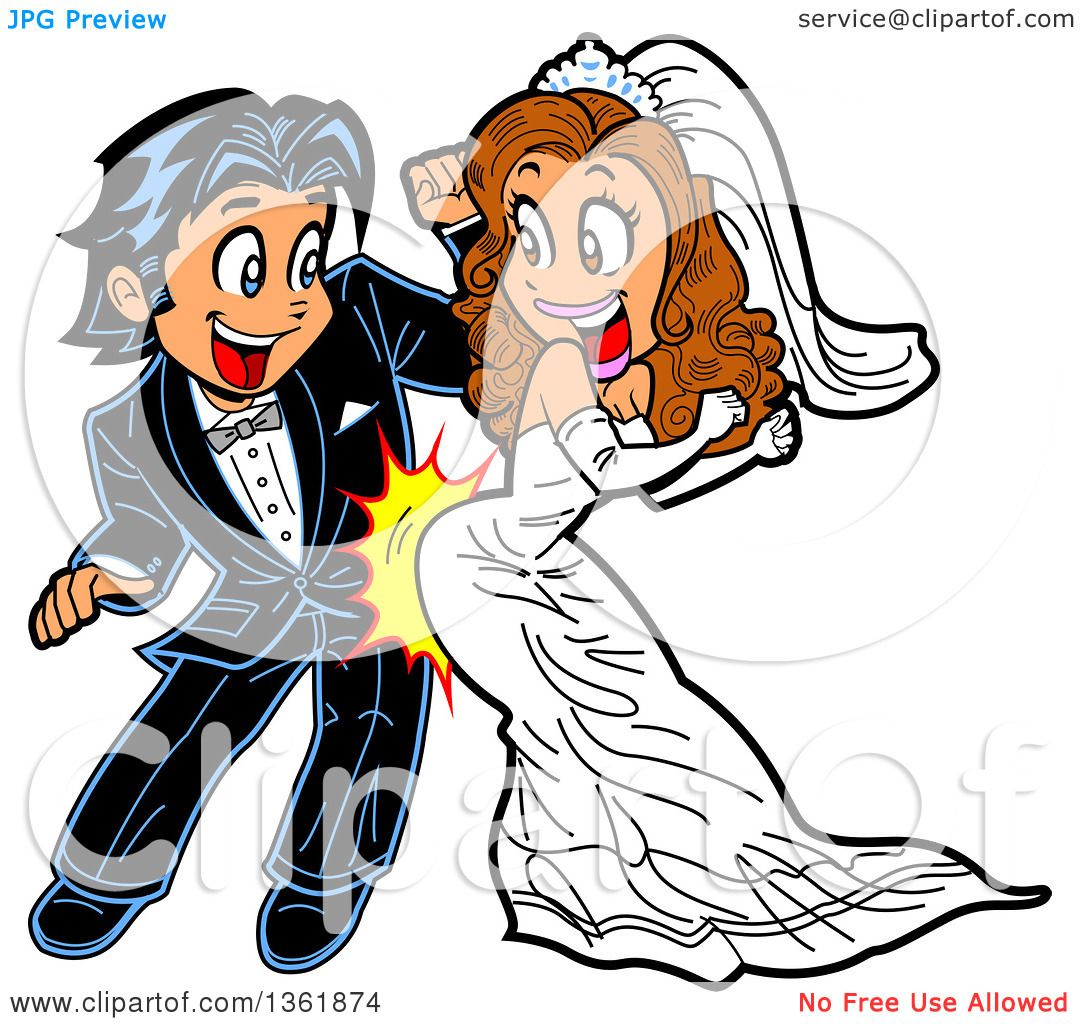 Clipart Of A Cartoon Happy Wedding Couple Dancing And Grinding Royalty Free Vector Illustration By Clip Art Mascots 1361874