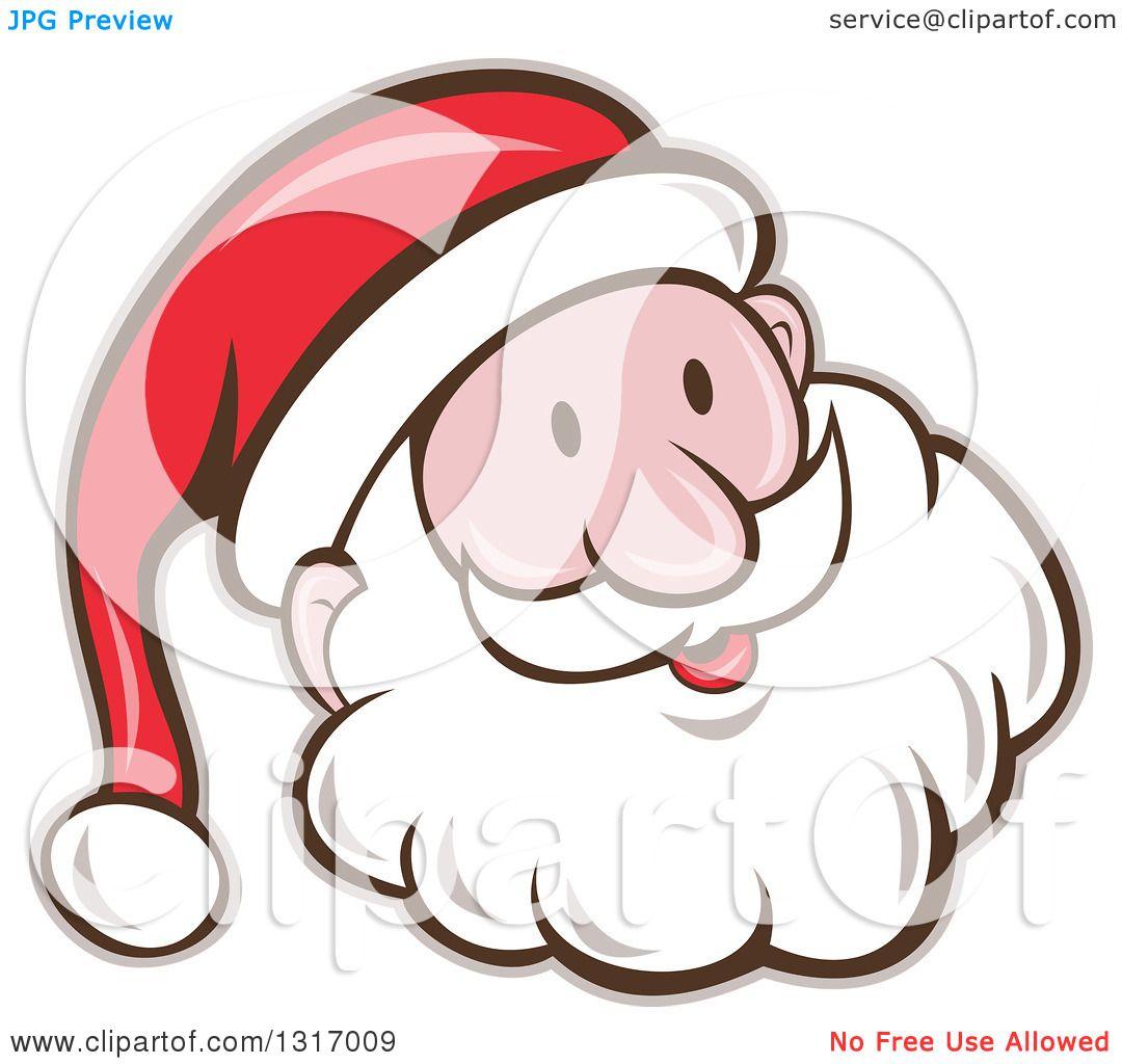 clipart of a cartoon happy white santa claus face royalty free vector illustration by patrimonio - White Santa Claus