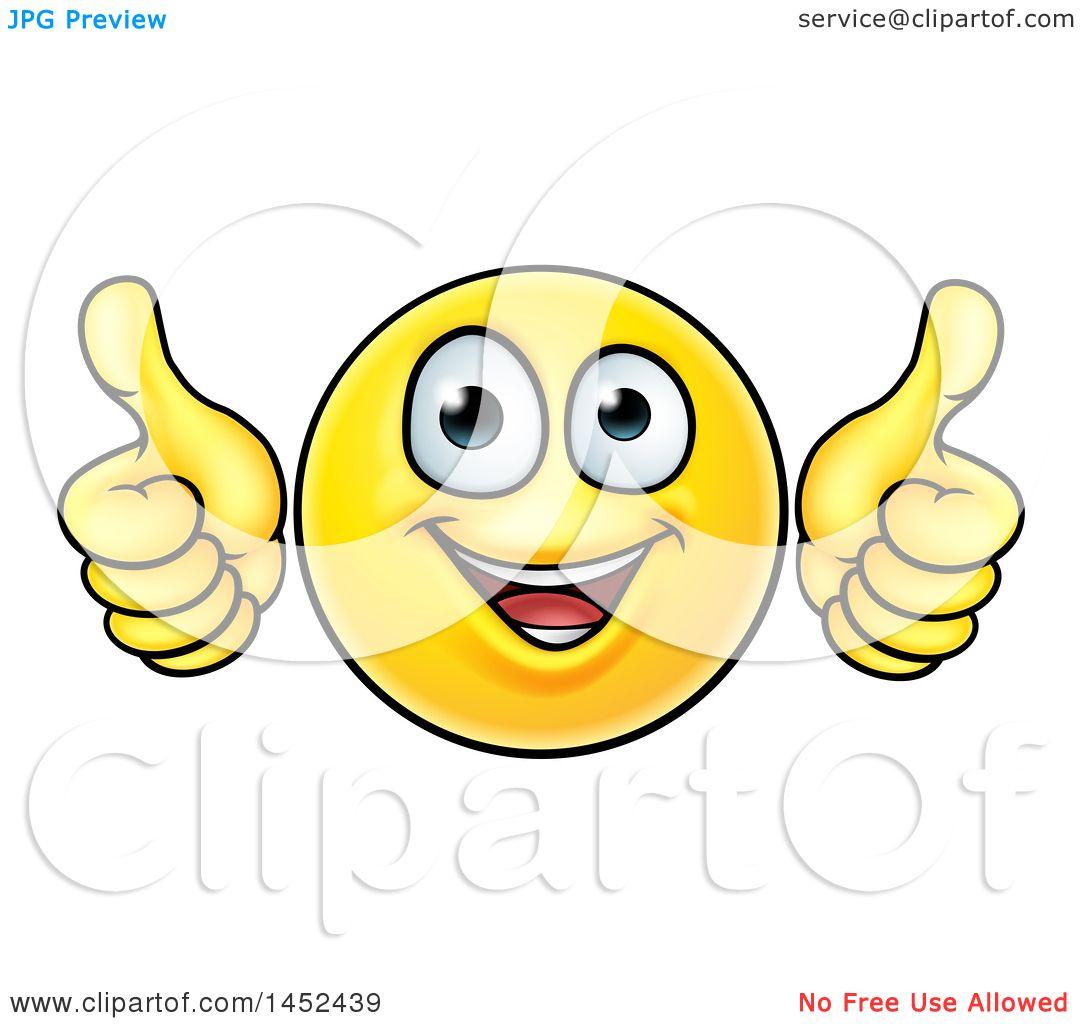 Clipart of a Cartoon Happy Yellow Emoji Smiley Face ...