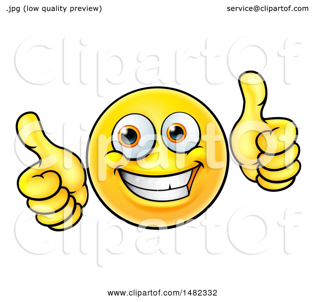 clipart of a cartoon happy yellow emoji smiley face emoticon holding rh clipartof com Thumbs Up Emoji Thumbs Up Funny Face