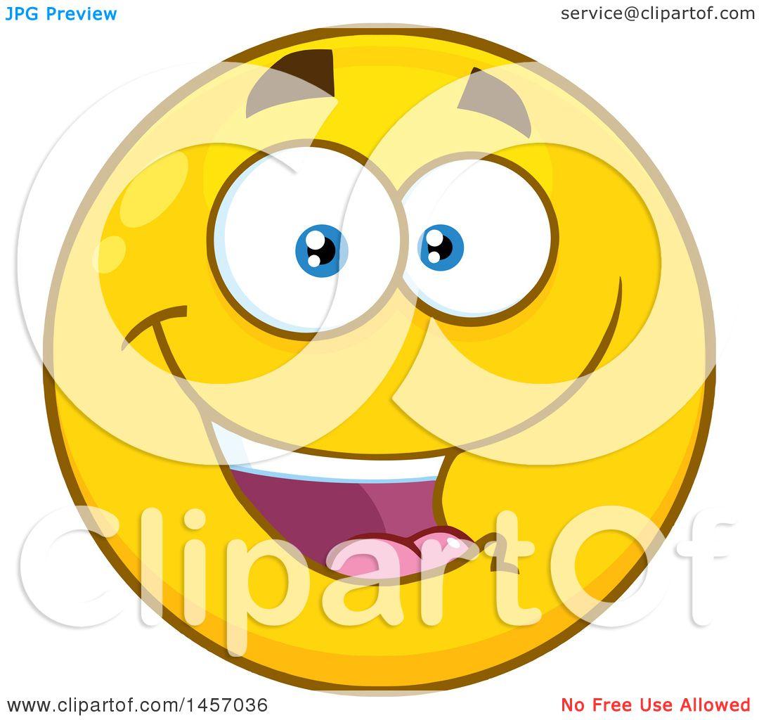 Clipart Of A Cartoon Happy Yellow Emoji Smiley Face