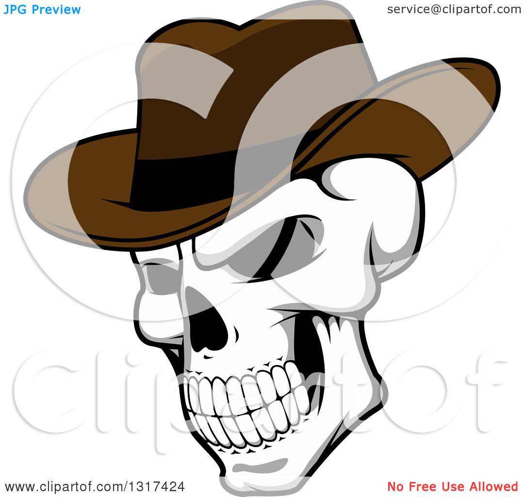 Skull Hat Skull Wearing a Cowboy Hat
