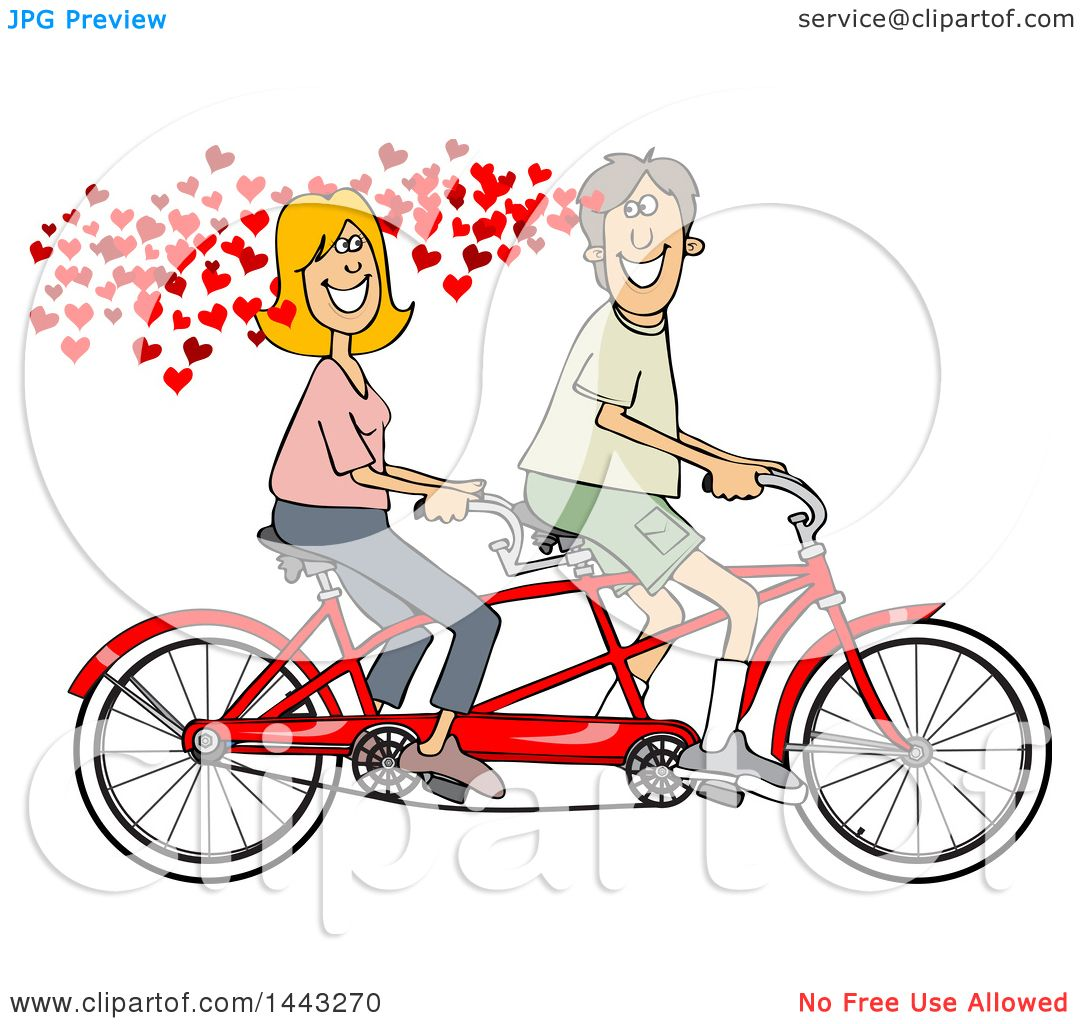 Clipart Of A Cartoon In Love Caucasian Couple Riding Tandem Bike With Hearts