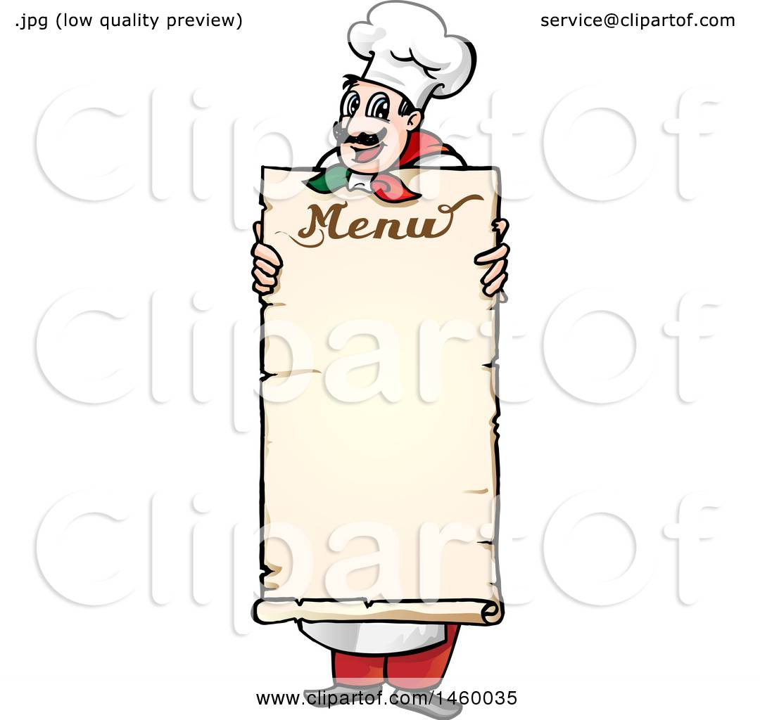 clipart of a cartoon italian chef holding a menu board - royalty