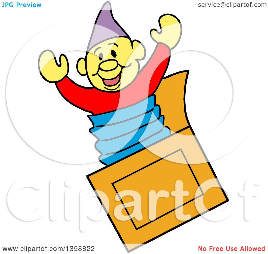 Clipart of a Cartoon Jack in the Box Toy - Royalty Free Vector ...