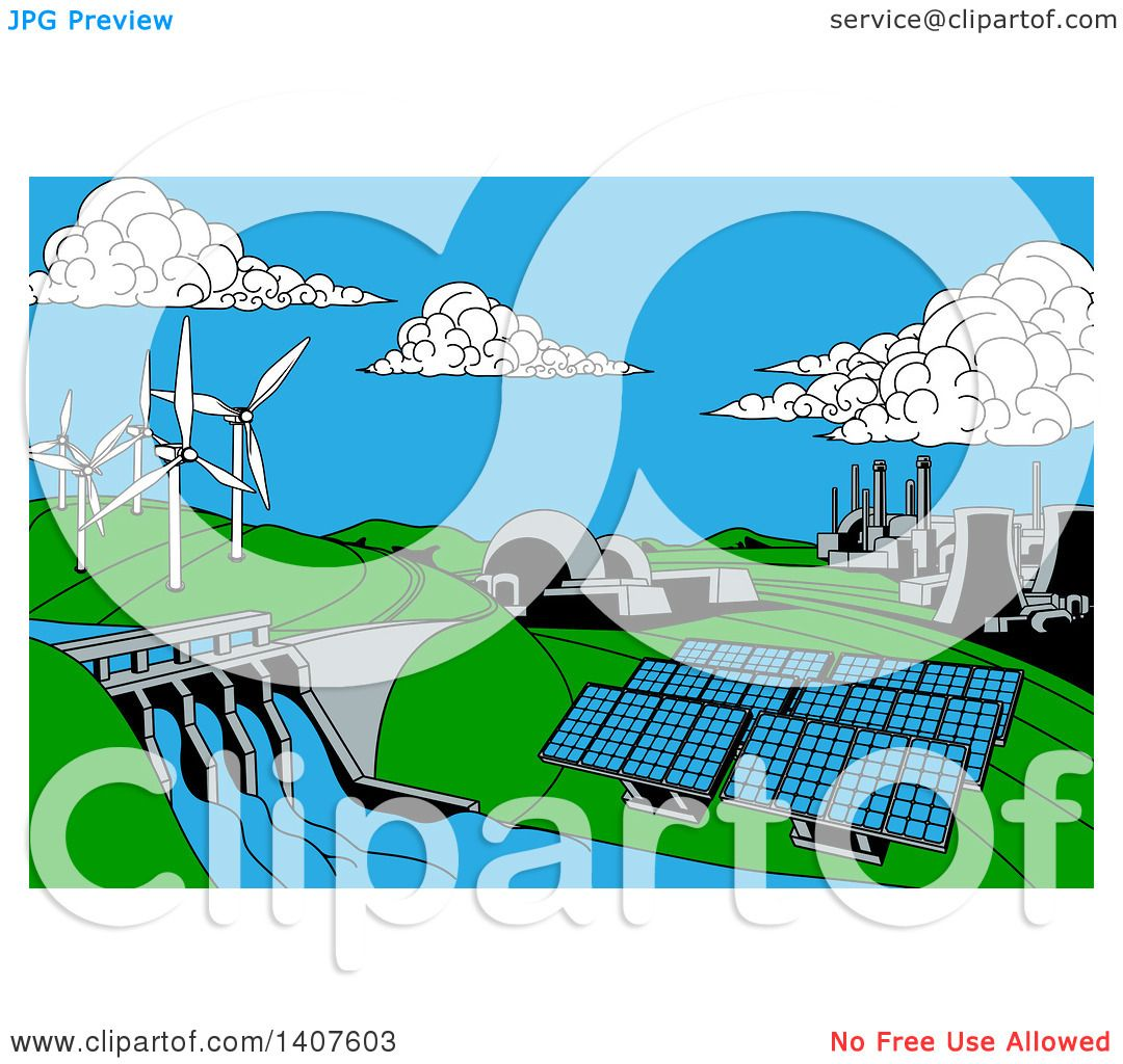 Clipart Of A Cartoon Landscape Of Renewable Energy Plants