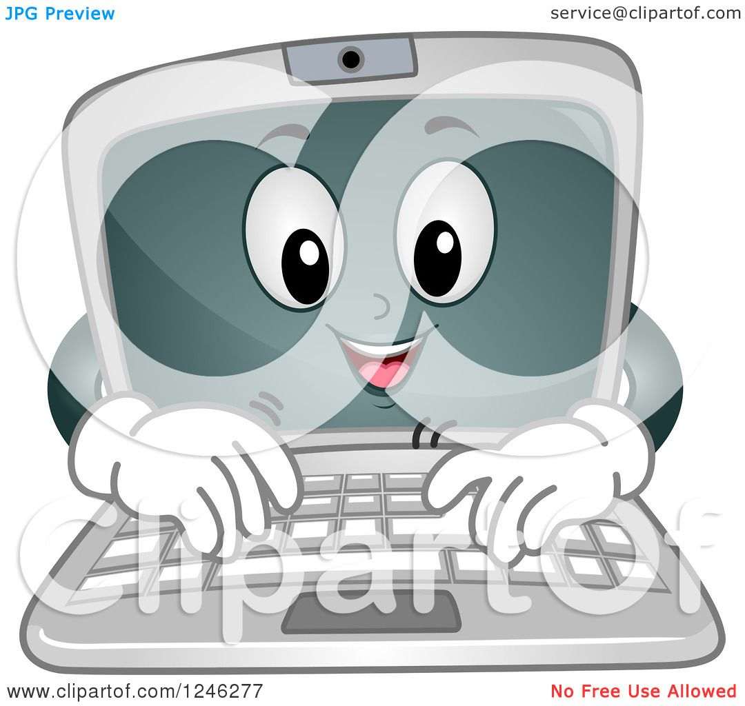 Typing On Laptop Clip Art