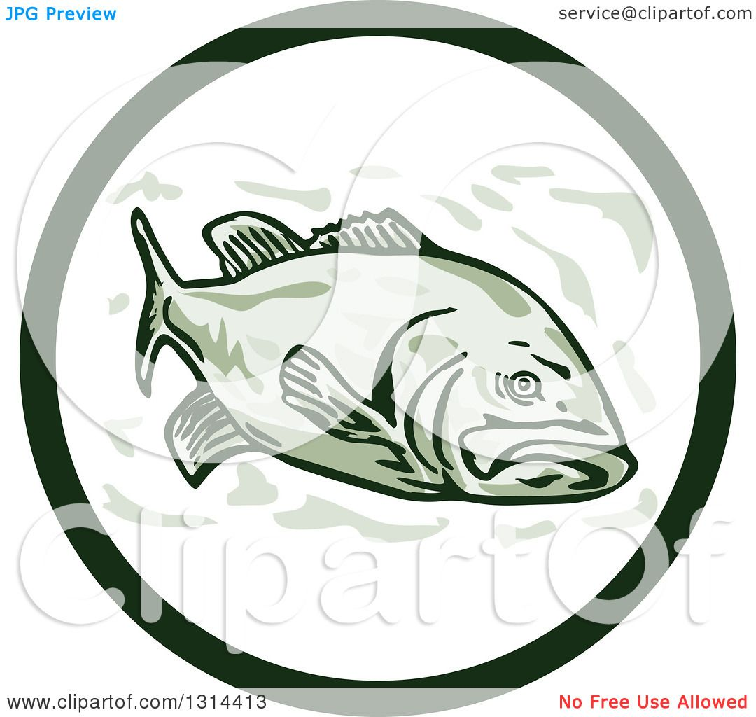 Clipart of a Cartoon Largemouth Bass Fish in a Circle - Royalty ...