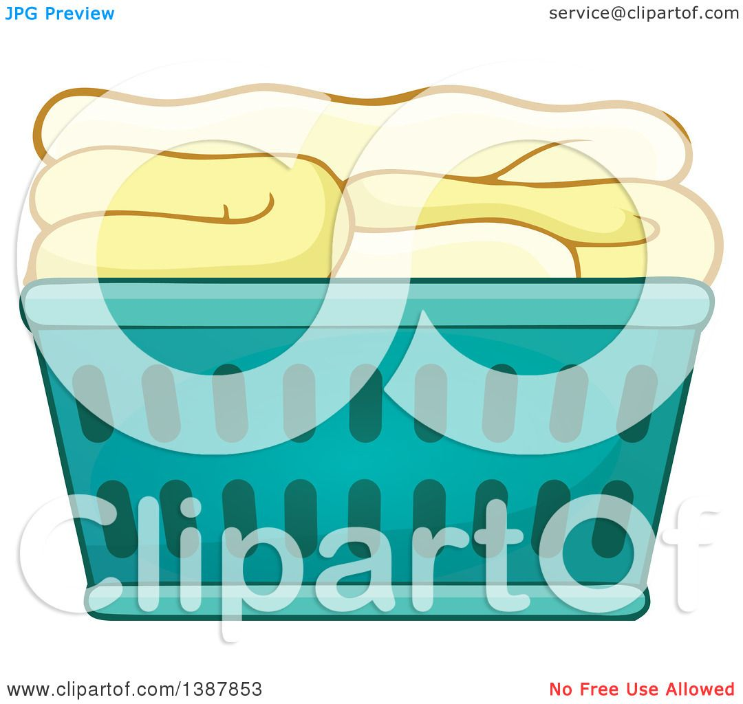 laundry basket clipart. Clipart Of A Cartoon Laundry Basket With Folded Items - Royalty Free Vector Illustration By Visekart