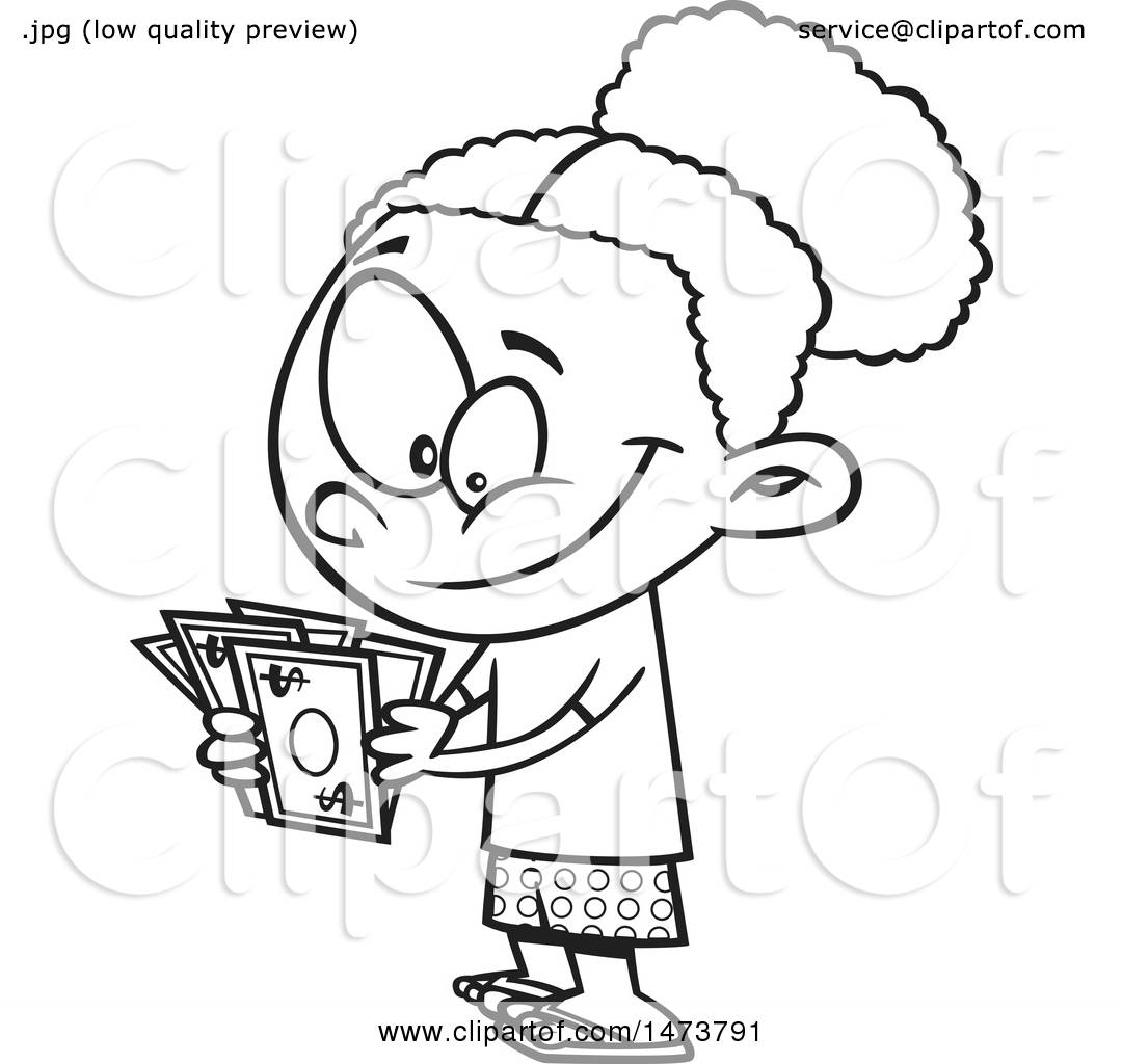 Clipart of a Cartoon Lineart Girl Counting Her Cash Money - Royalty ...