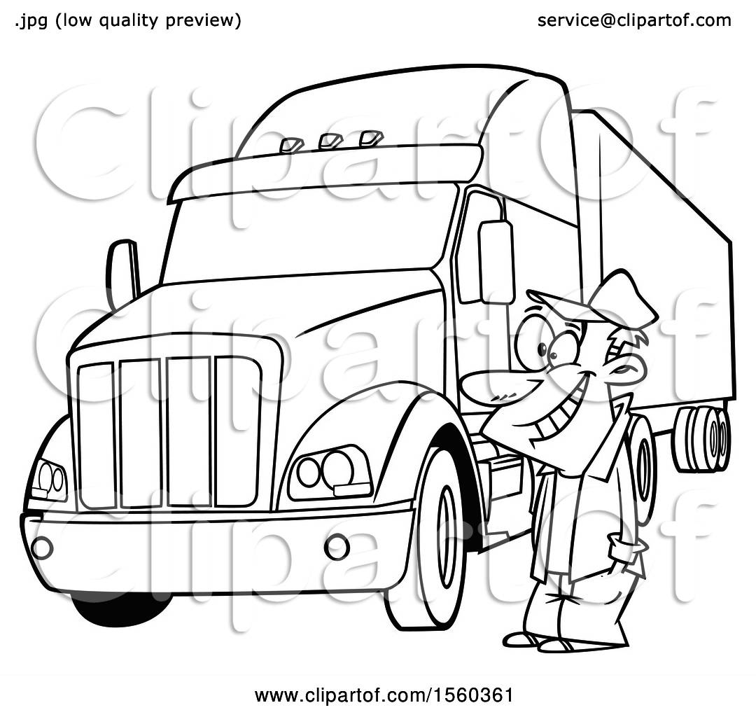 Clipart Of A Cartoon Lineart Happy Male Trucker By His Big Rig Royalty Free Vector Illustration By Toonaday