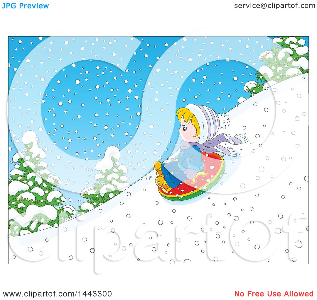 Clipart of a Cartoon Little Blond Caucasian Boy Snow Tubing ...