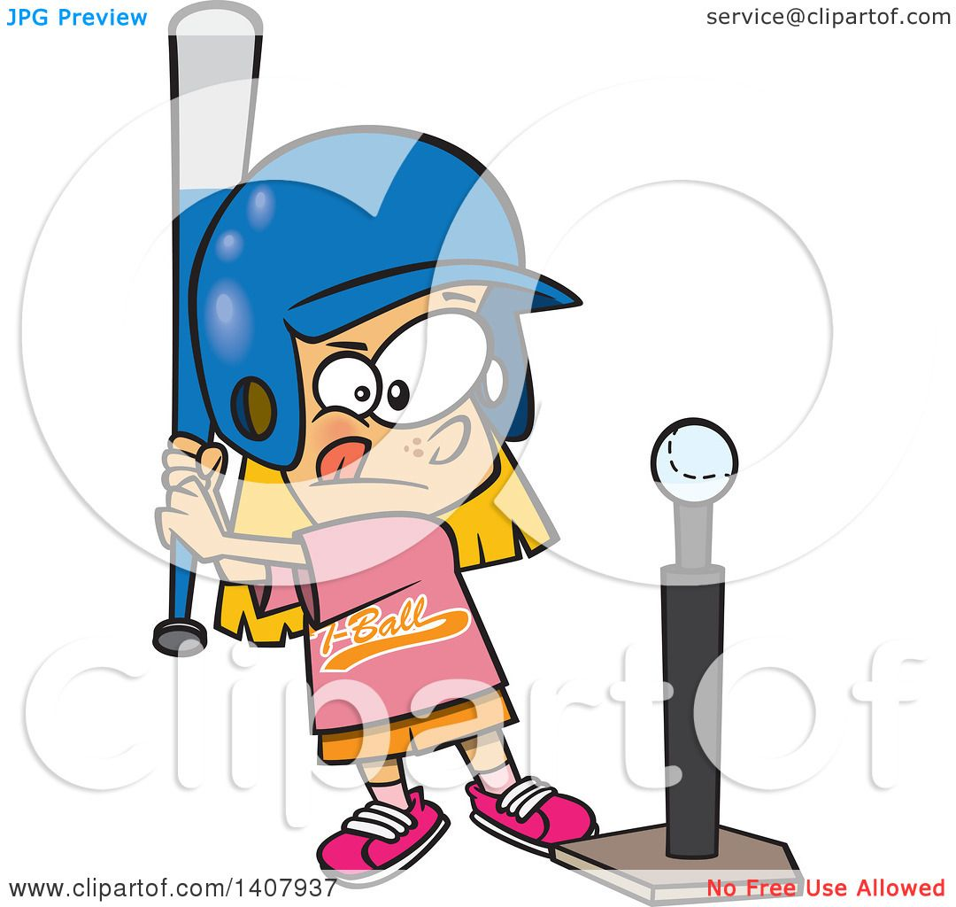 clipart of a cartoon little caucasian girl playing t ball royalty rh clipartof com t ball clipart free t ball clipart free