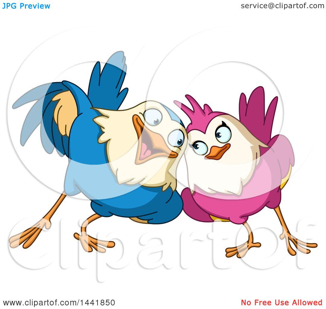 Clipart Of A Cartoon Loving Bird Couple Cuddling Royalty