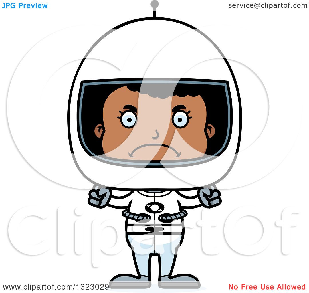 Clipart Of A Cartoon Mad Black Girl Astronaut - Royalty Free Vector Illustration By Cory Thoman 1323029-6174