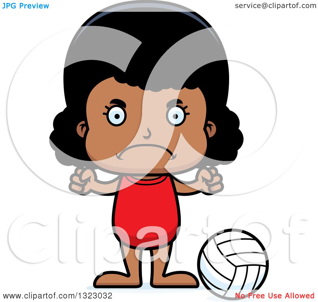 Clipart Of A Cartoon Mad Black Girl Beach Volleyball Player - Royalty Free Vector Illustration By Cory Thoman 1323032-4741