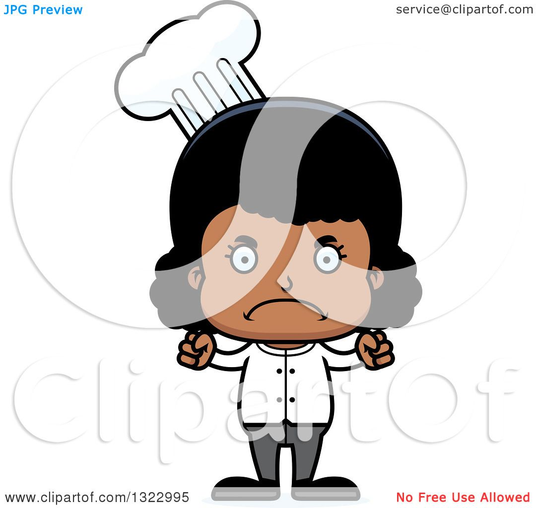 Clipart Of A Cartoon Mad Black Girl Chef - Royalty Free Vector Illustration By Cory Thoman 1322995-6645