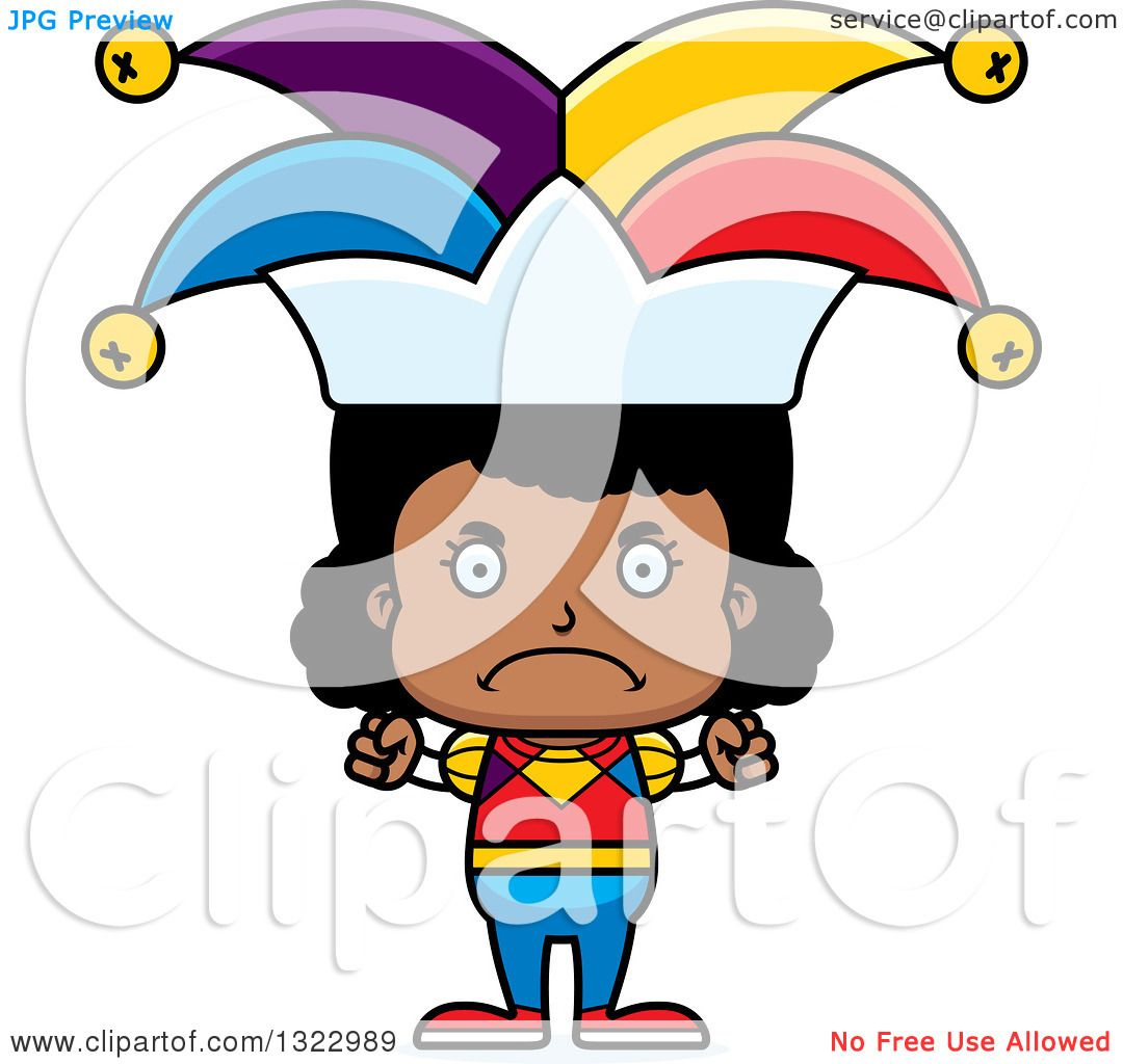 Clipart Of A Cartoon Mad Black Girl Jester - Royalty Free Vector Illustration By Cory Thoman 1322989-9859