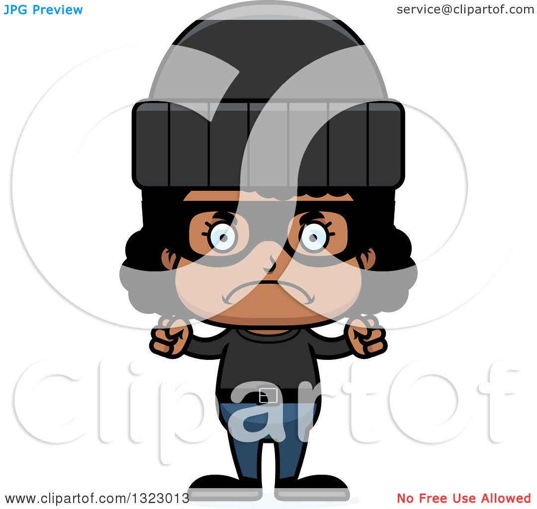 Clipart Of A Cartoon Mad Black Girl Robber - Royalty Free Vector Illustration By Cory Thoman 1323013-2837