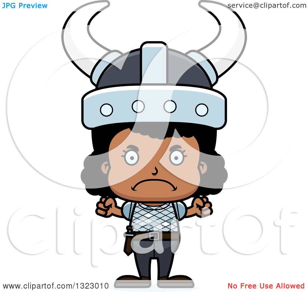 Clipart Of A Cartoon Mad Black Viking Girl - Royalty Free Vector Illustration By Cory Thoman 1323010-6380