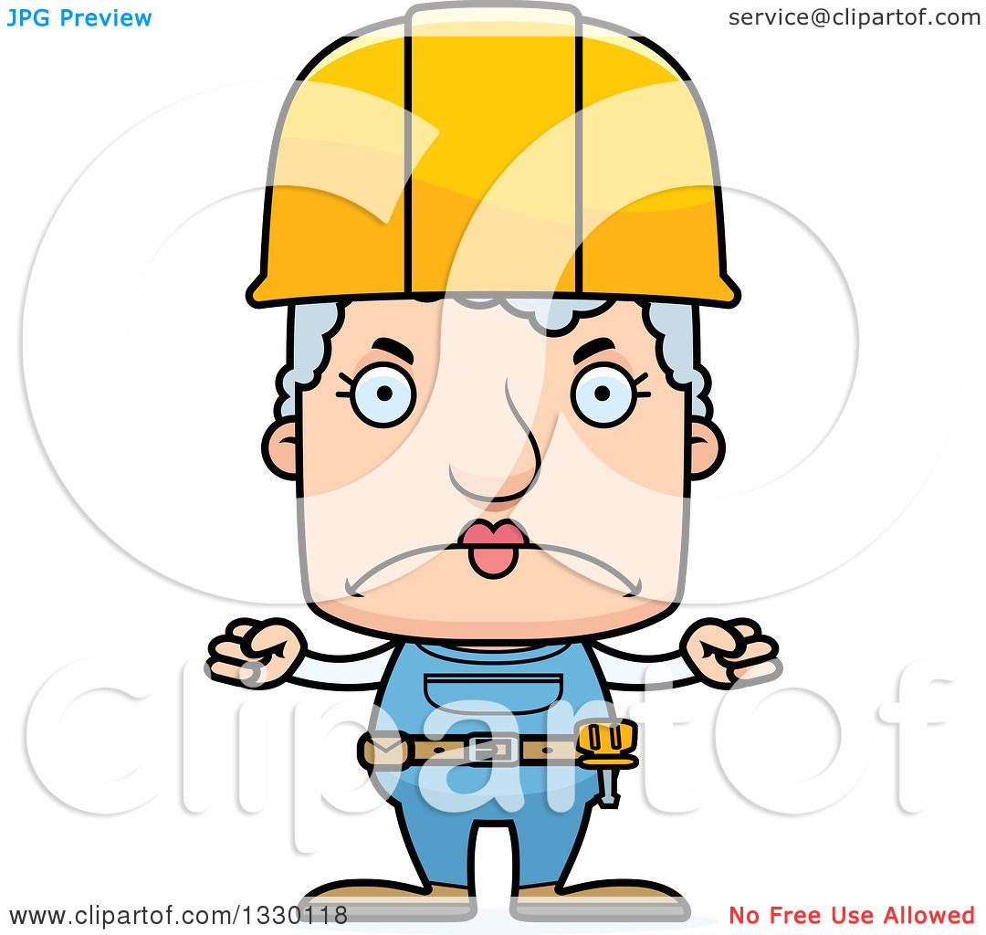 Clipart Of A Cartoon Mad Block Headed White Senior Woman