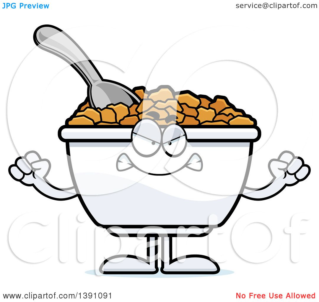 Clipart of a Cartoon Mad Bowl of Corn Flakes Breakfast Cereal ...