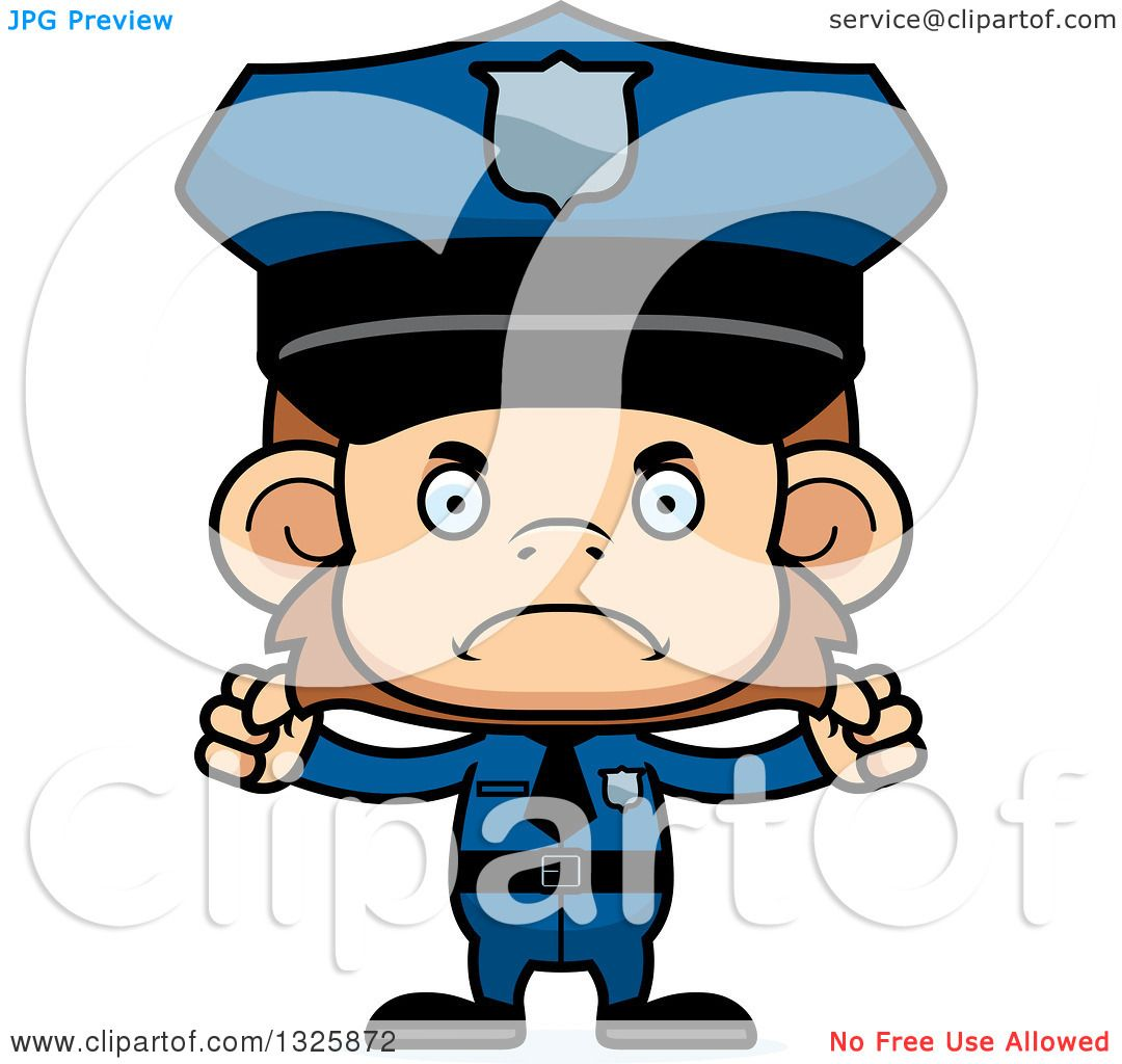 Clipart of a Cartoon Mad Monkey Police Officer - Royalty Free ...