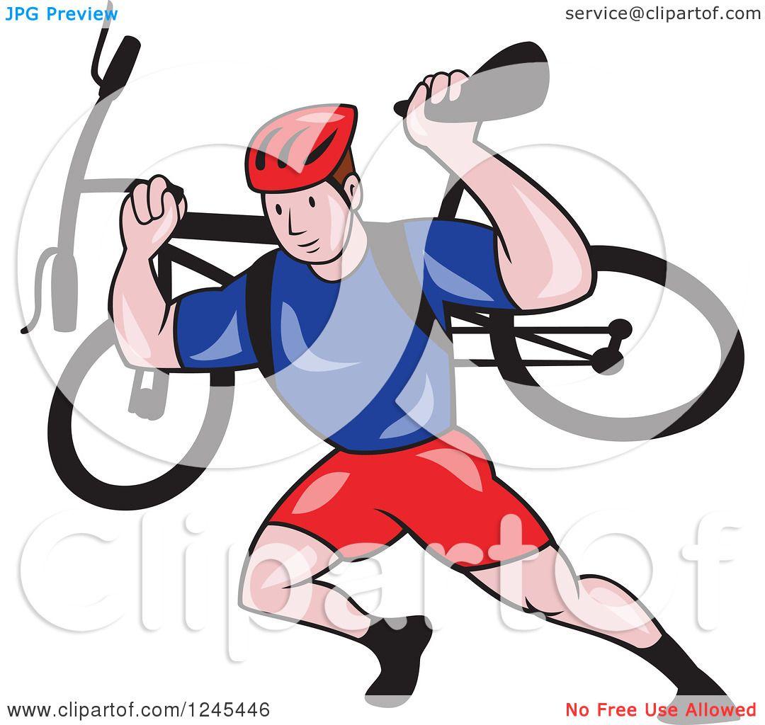 Clipart of a Cartoon Male Cyclist Repair Man Holding up a Bike ...