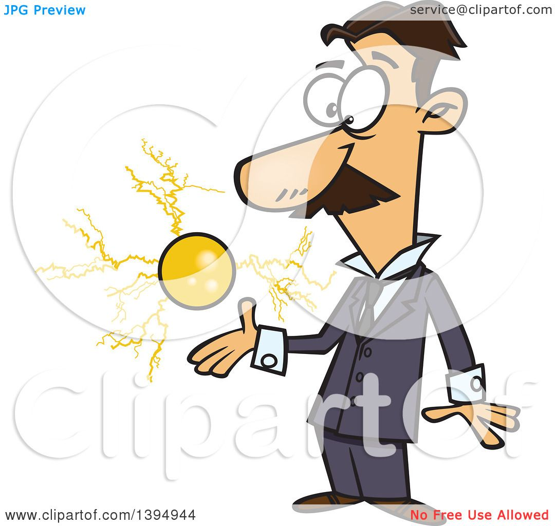 Clipart Of A Cartoon Male Electrical Engineer Nicola Tesla With Floating Ball Energy