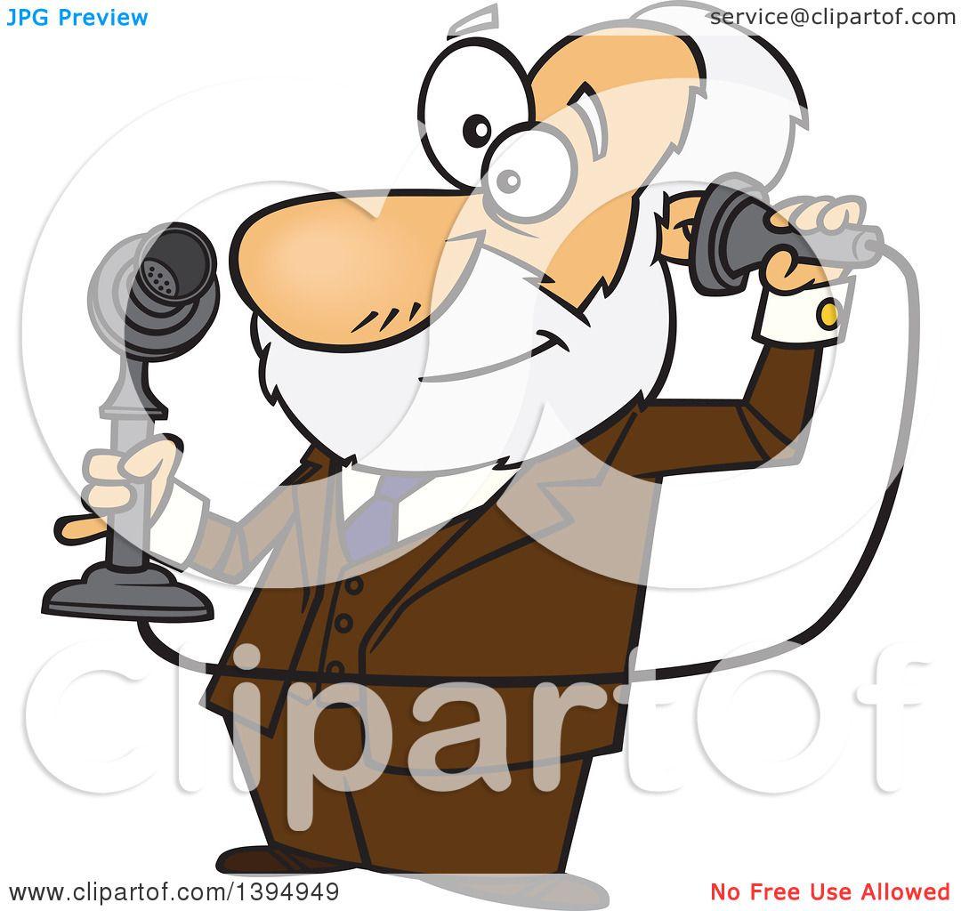Clipart of a Cartoon Male Inventor, Alexander Graham Bell, Holding a ...