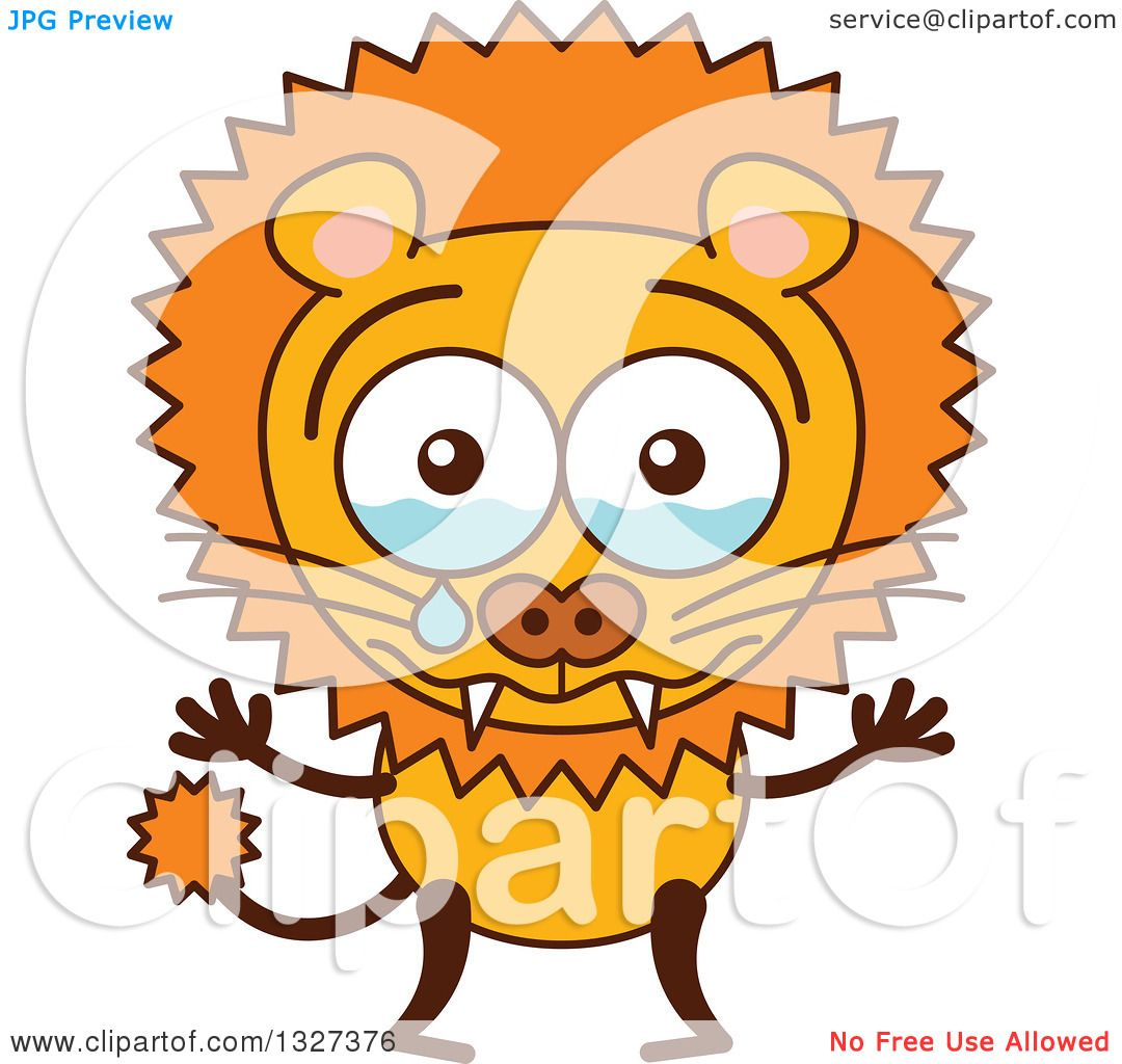 clipart of a cartoon male lion crying royalty free vector