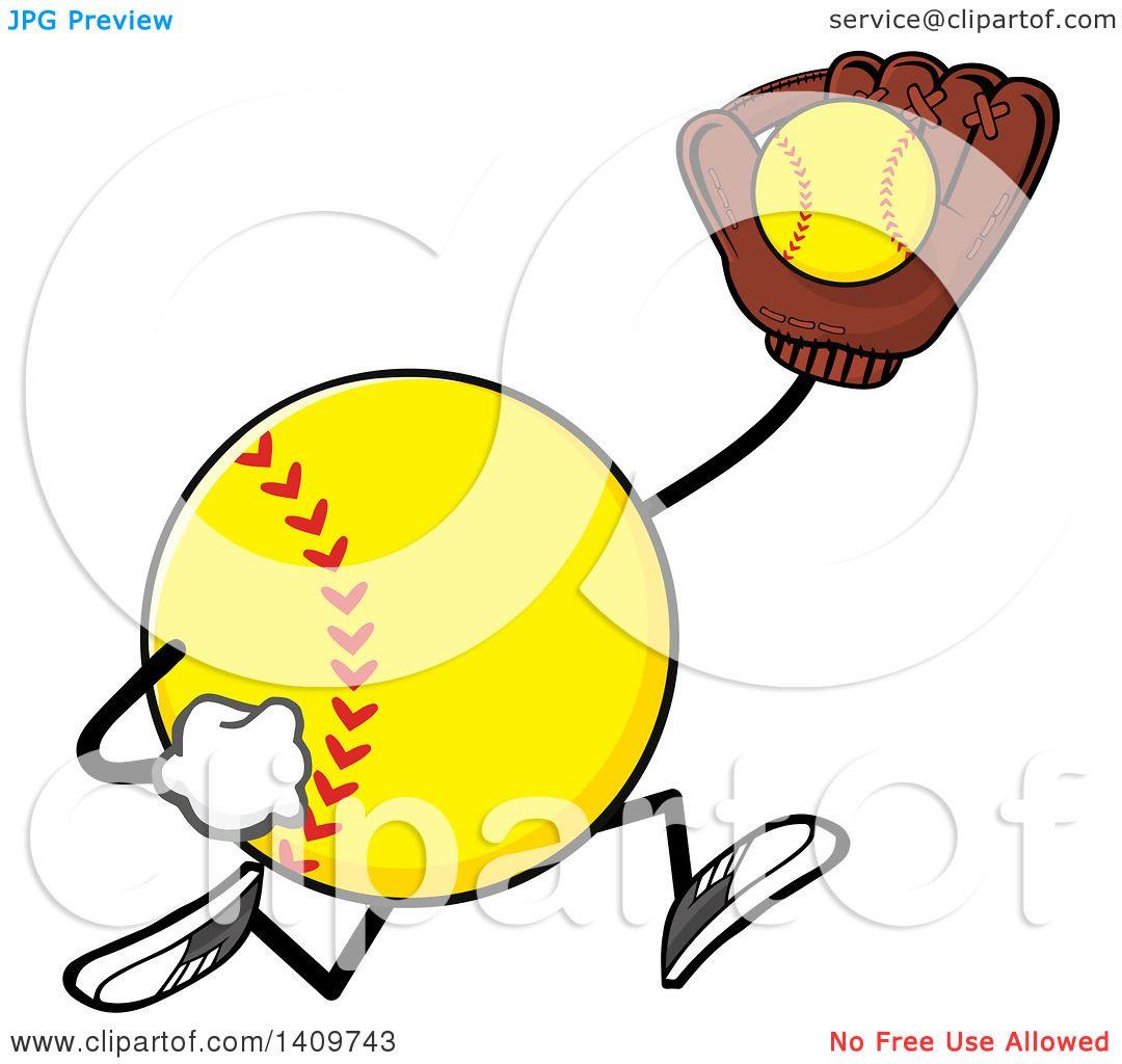 Clipart of a Cartoon Male Softball Character Mascot Running and ...