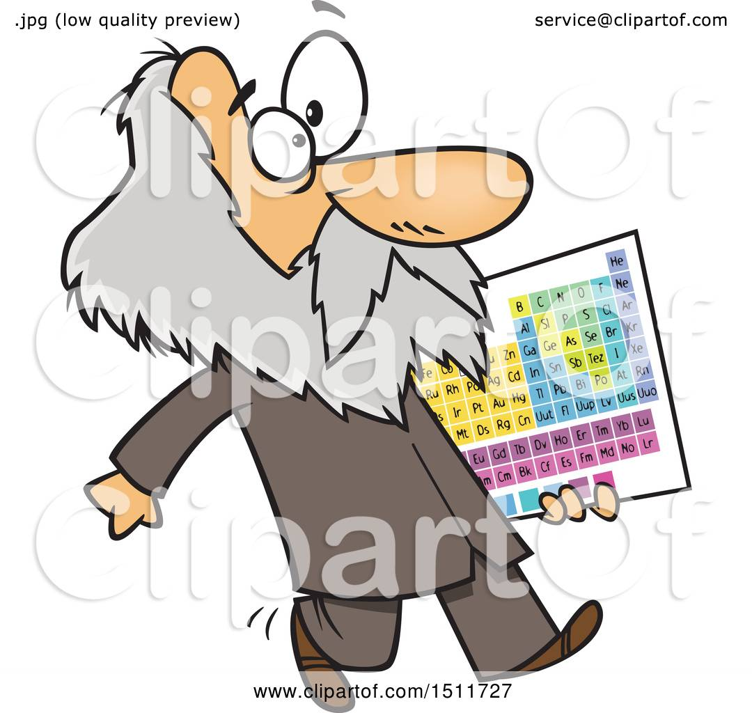 Clipart Of A Cartoon Man Dmitri Mendeleev Carrying The Periodic