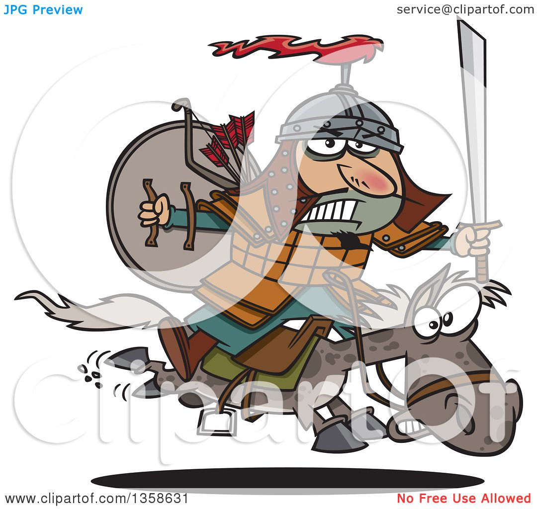 Clipart of a cartoon man genghis khan riding into battle on clipart of a cartoon man genghis khan riding into battle on horseback royalty free vector illustration by toonaday biocorpaavc Images