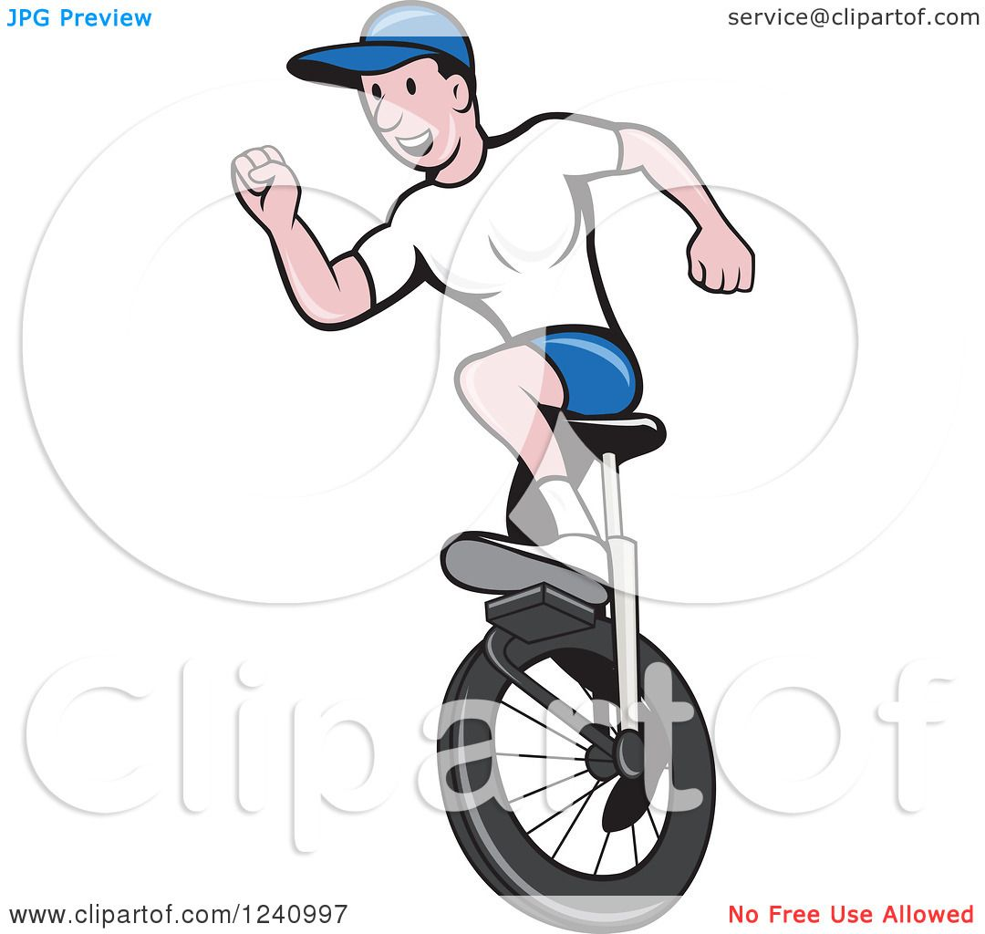 Clipart of a Cartoon Man Riding a Unicycle - Royalty Free Vector Illustration by ...