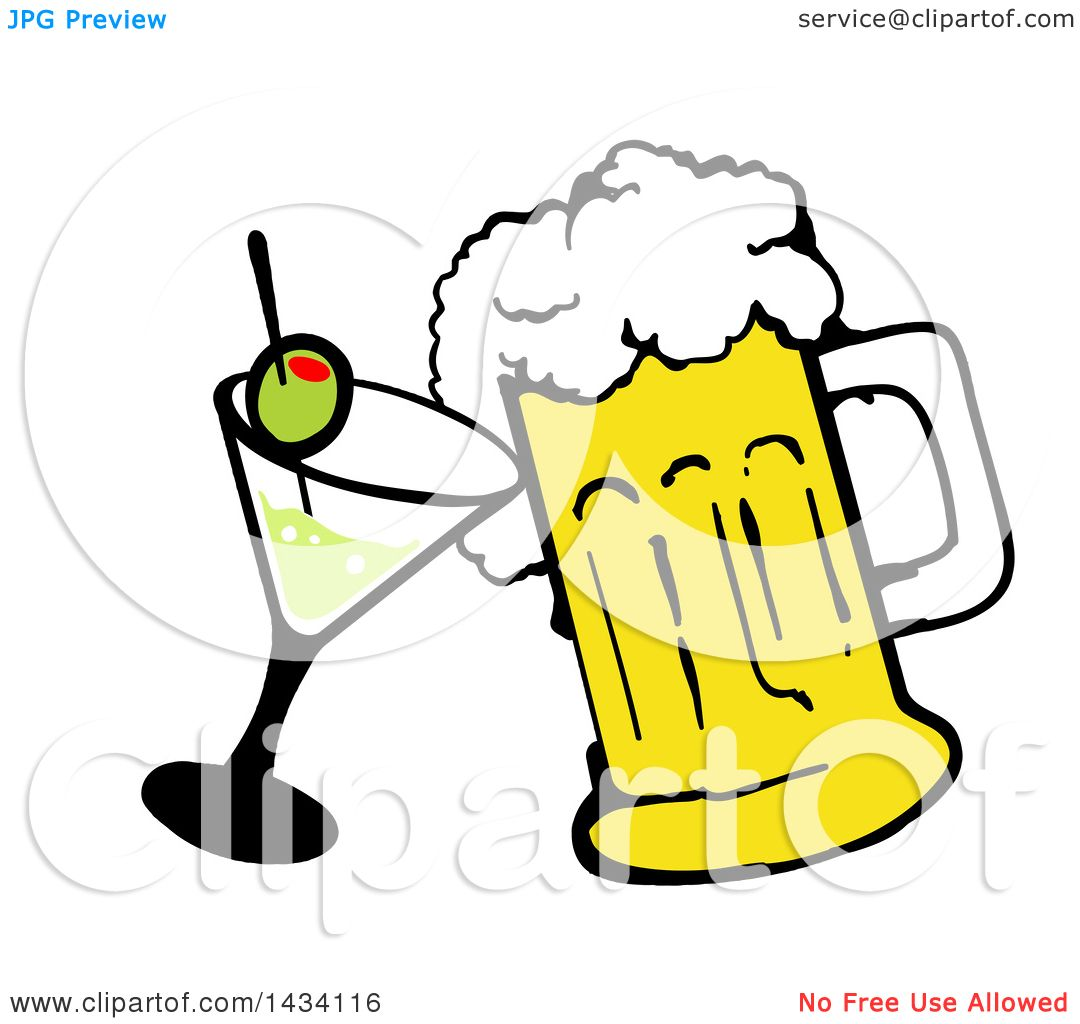 clipart of a cartoon martini cocktail and beer mug royalty free rh clipartof com cocktail clipart free cocktail party clipart free