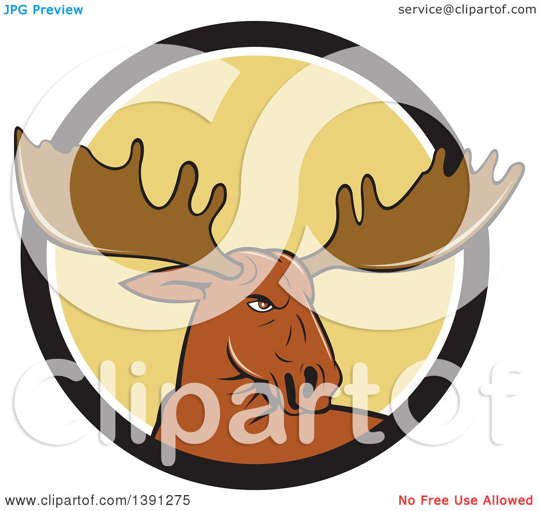 clipart of a cartoon moose head emerging from a black white and